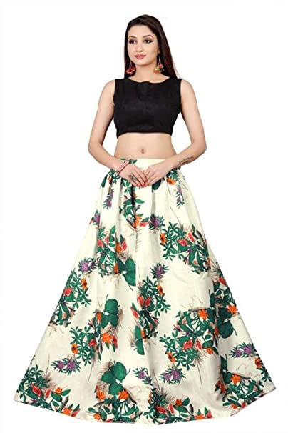 2232ec98aa MadhavFashion Women's Satin Floral Print Lehenga Choli (White and Black,  Free Size): Amazon.in: Clothing & Accessories