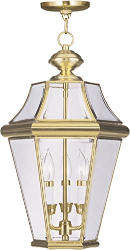 Livex Lighting 2365-02 Georgetown 3-Light Outdoor Hanging Lantern, Polished Brass