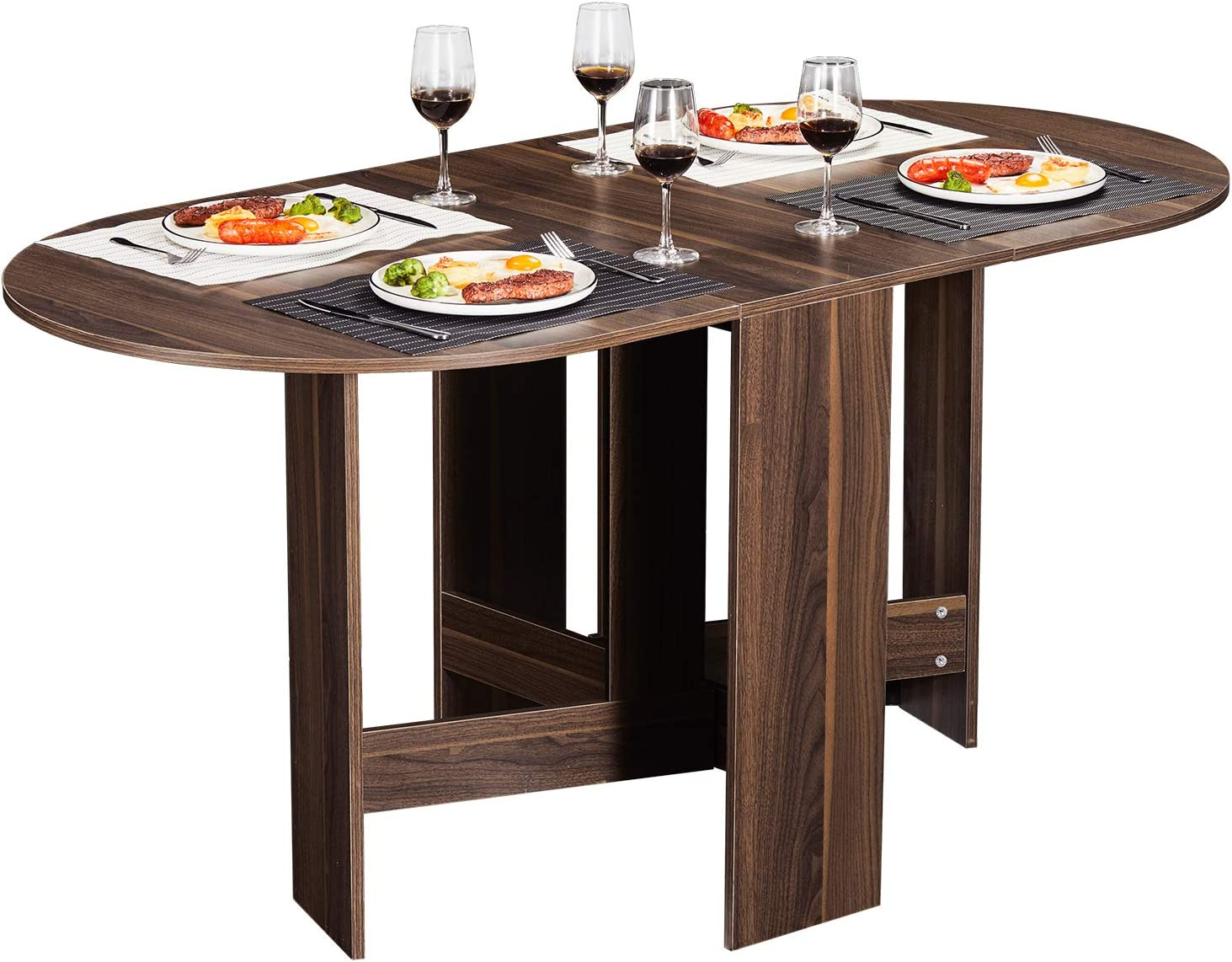Amazon Com Tiptiper Folding Dining Table Extendable Dinner Table With Wood Grain And Round Edges Design Space Saving Versatile Kitchen Table Tables