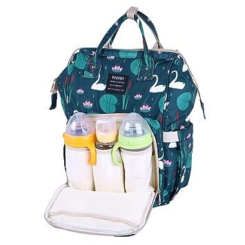 7e2a334aa98 Amazon.com : Baby Diaper Bag Backpack - Diaper Backpacks for Mom, Large  Capacity Floral Print Boho Waterproof Organizer Diaper Bags for Women Girl  (Blue, ...