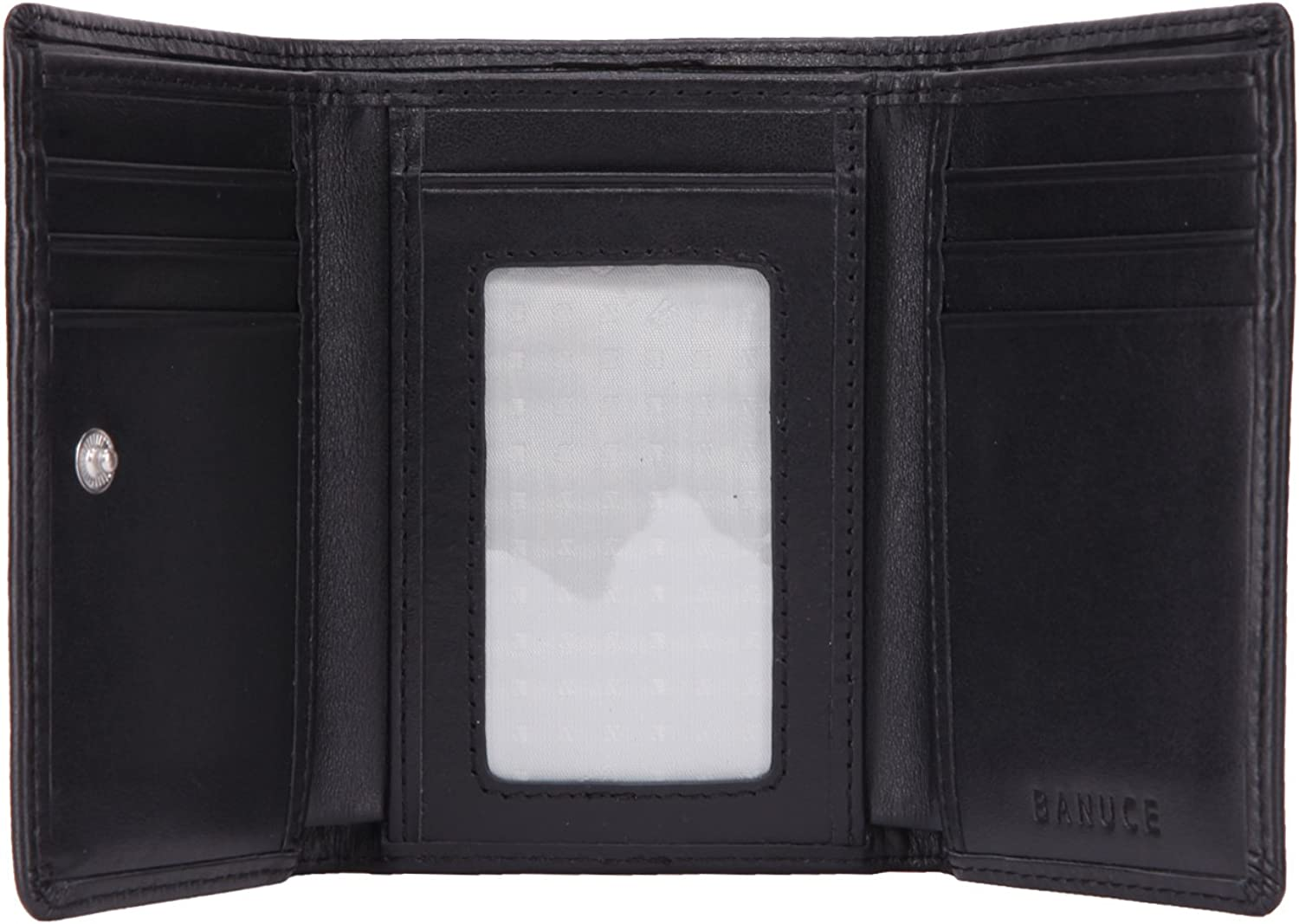 Banuce Real Leather Slim Trifold Wallet for Women Small Clutch Purse Card Holder with ID Window