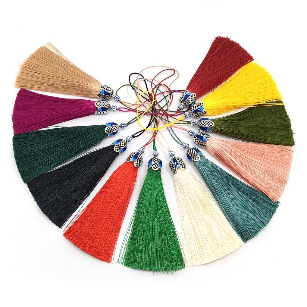 13PCS circa 8cm lunghezza cinese nodo nappe a mano seta lungo nappe per nappe gioielli forniture rendendo materiali YIQILOVER