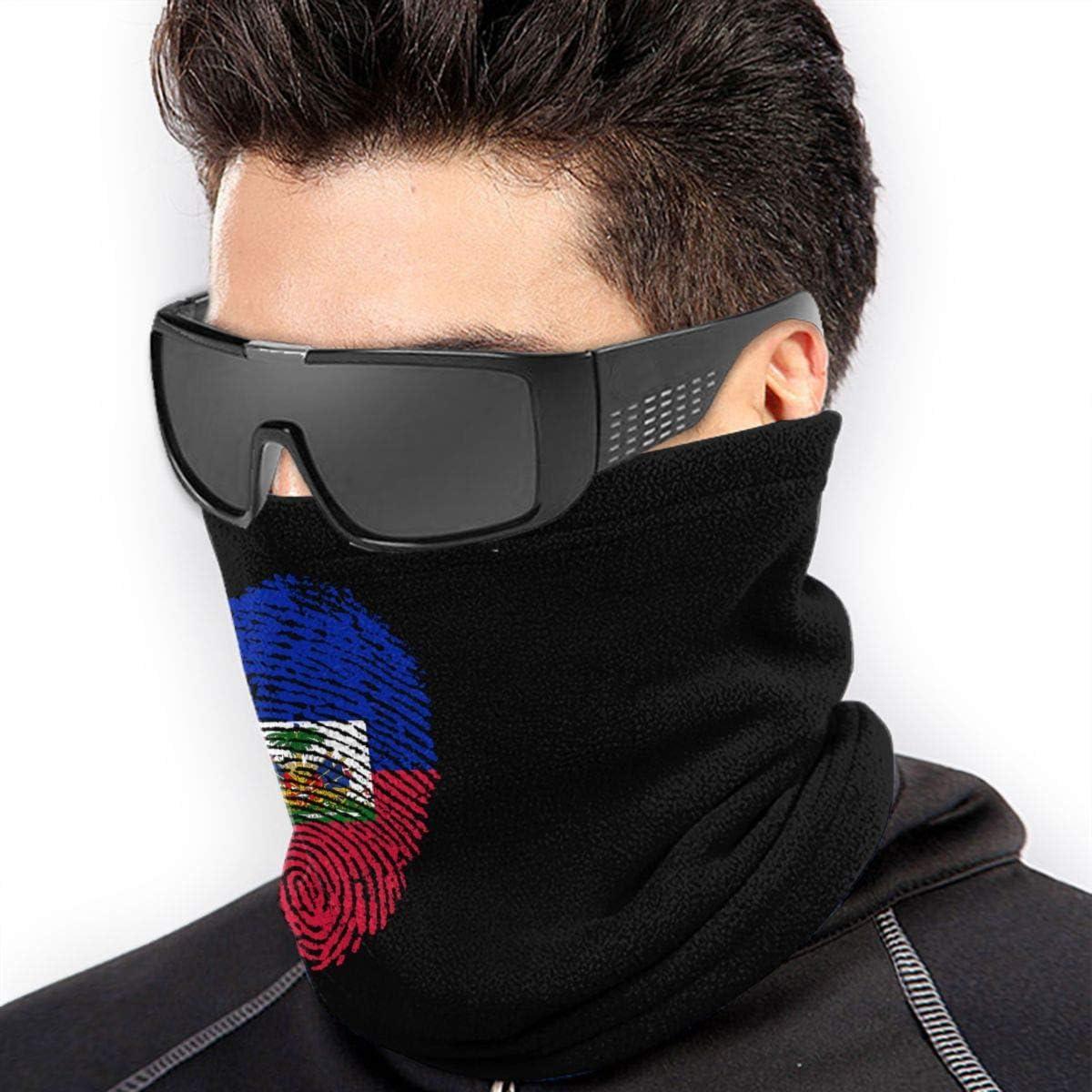 Haiti Flag Fingerprint Men Women Face Mask Windproof Neck Warmer Cold Weather Headwear For Skiing Snowboarding
