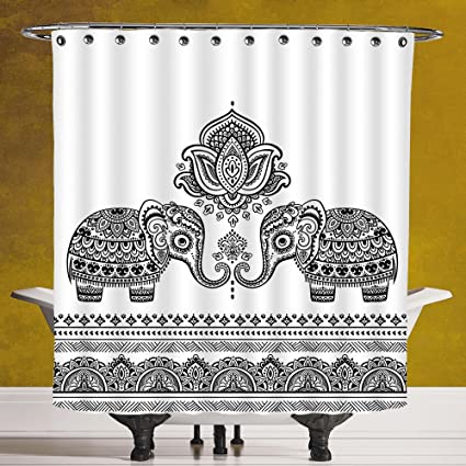 SCOCICI Cool Shower Curtain 30 By Elephant MandalaAfrican Tribal Indian Design Paisley Lotus