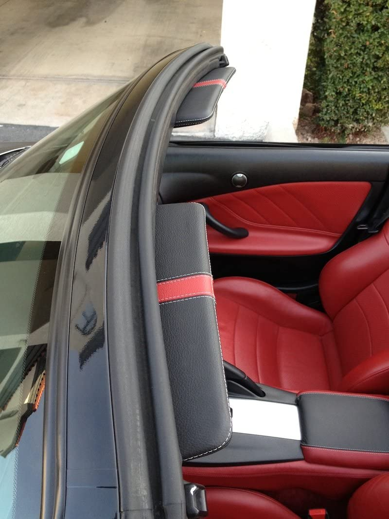 RedlineGoods Sun Visor Covers Compatible with Honda S2000 1999-09 Red Leather-Black Thread