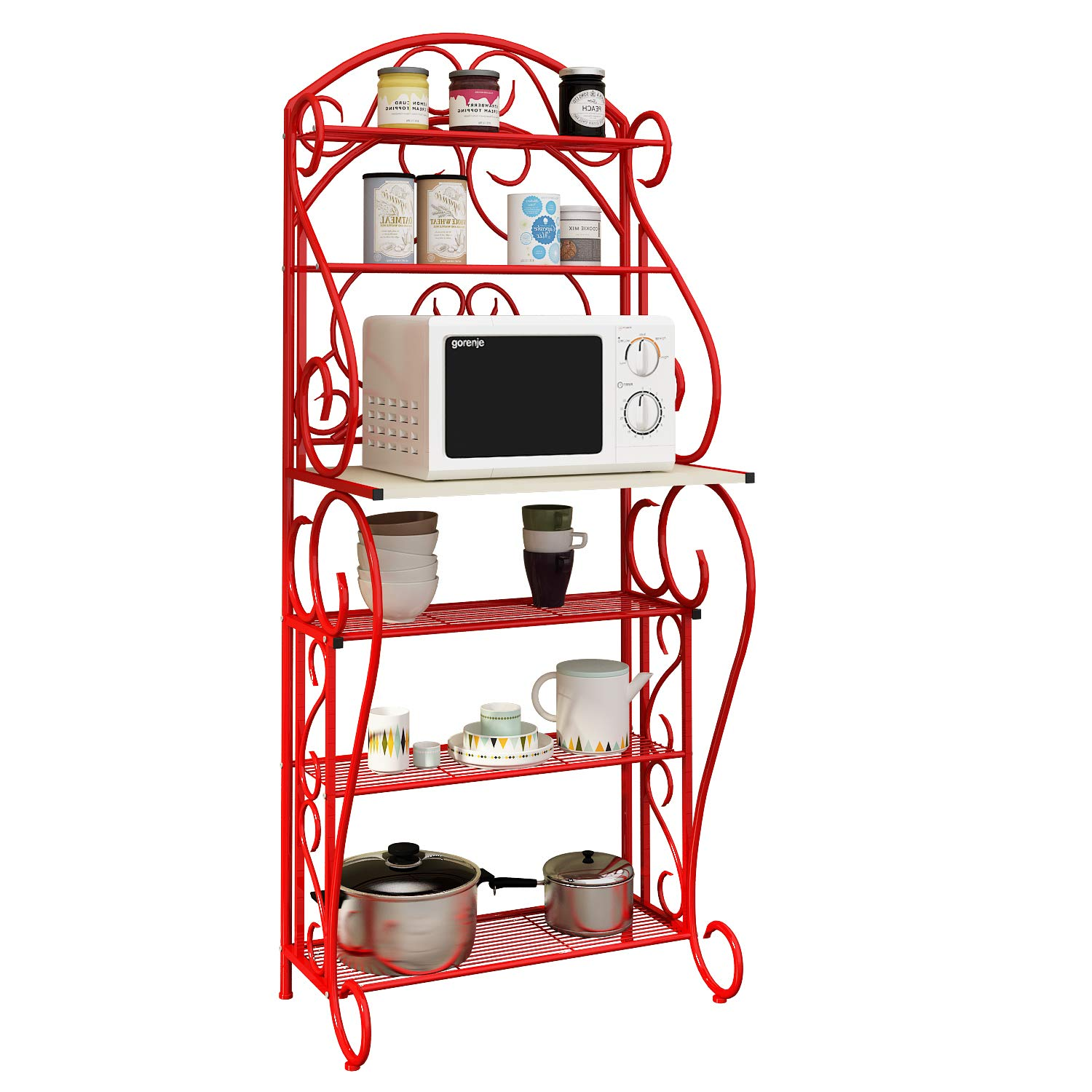 HOME BI 5-Tier Kitchen Bakers Rack Microwave Stand Kitchen Cart with Red Finish Shelves Spice Rack Organizer Workstation by HOME BI