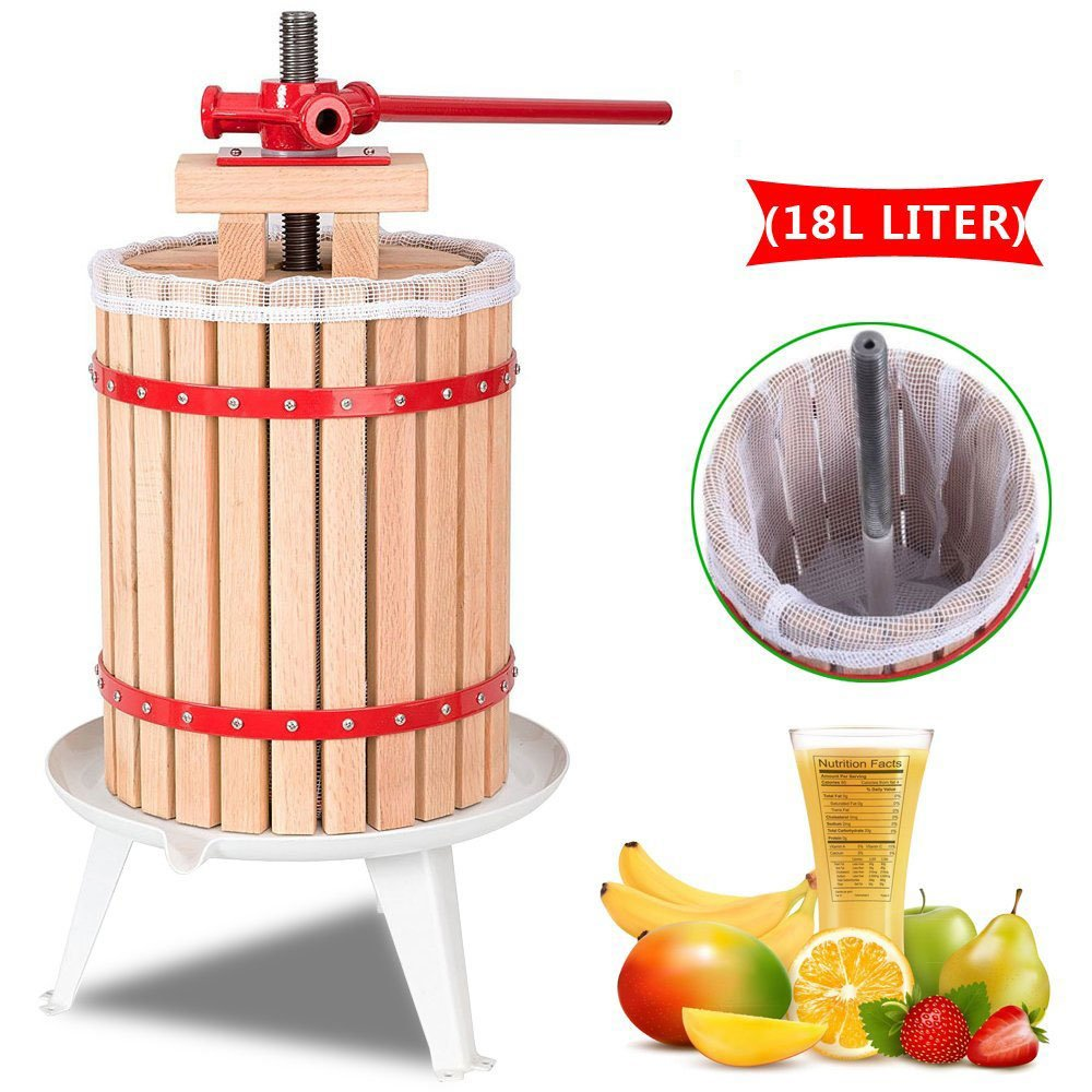 OrangeA 4.7 Gallon Fruit and Wine Press Solid Wood Basket Fruit and Wine Manual Press Press Cider Apple Grape Crusher Juice Maker (4.7 Gallon)