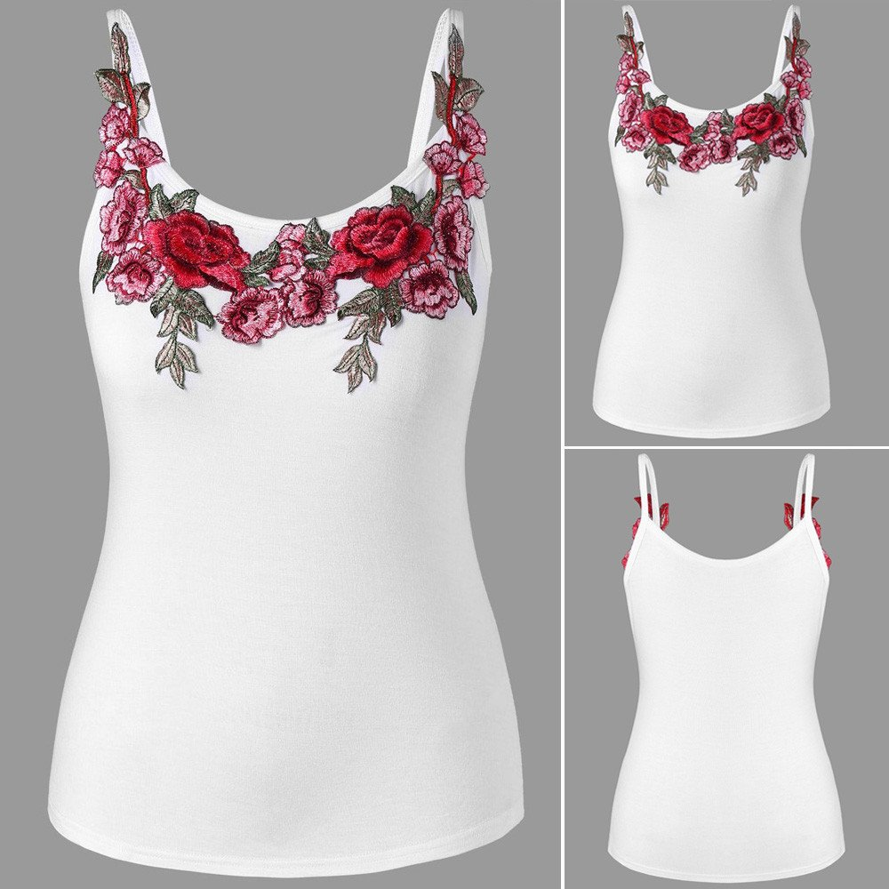 Spaghetti Strap Embroidery Vest Yoga Running Casual Activewear HIKO23 Summer Tank Tops for Women Plus Size