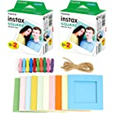 2X Fujifilm instax Square Instant Film (40 Exposures) + Hanging Photo Frames for Square Film Assorted Colors – Deluxe…