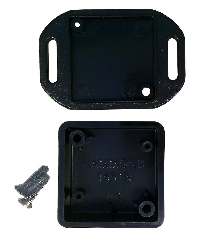 Item Details: Hammond 1551NFLBK Black ABS Plastic Flanged Lid Project Box -- Inches (1.38' x 1.38' x 0.59') mm (35mm x 35mm x 15mm) Hammond Manufacturing BPSFA1009445-1551NFLBK