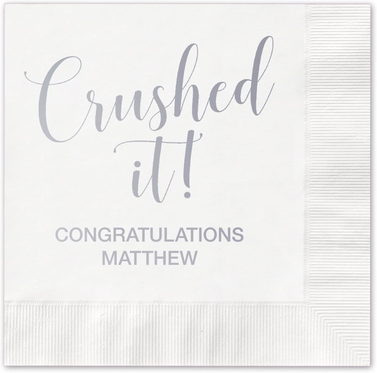 Canopy Street Crushed It Personalized Cocktail Napkins / 100 White Paper Coined Napkins with Choice of Foil/Folded 4 3/4