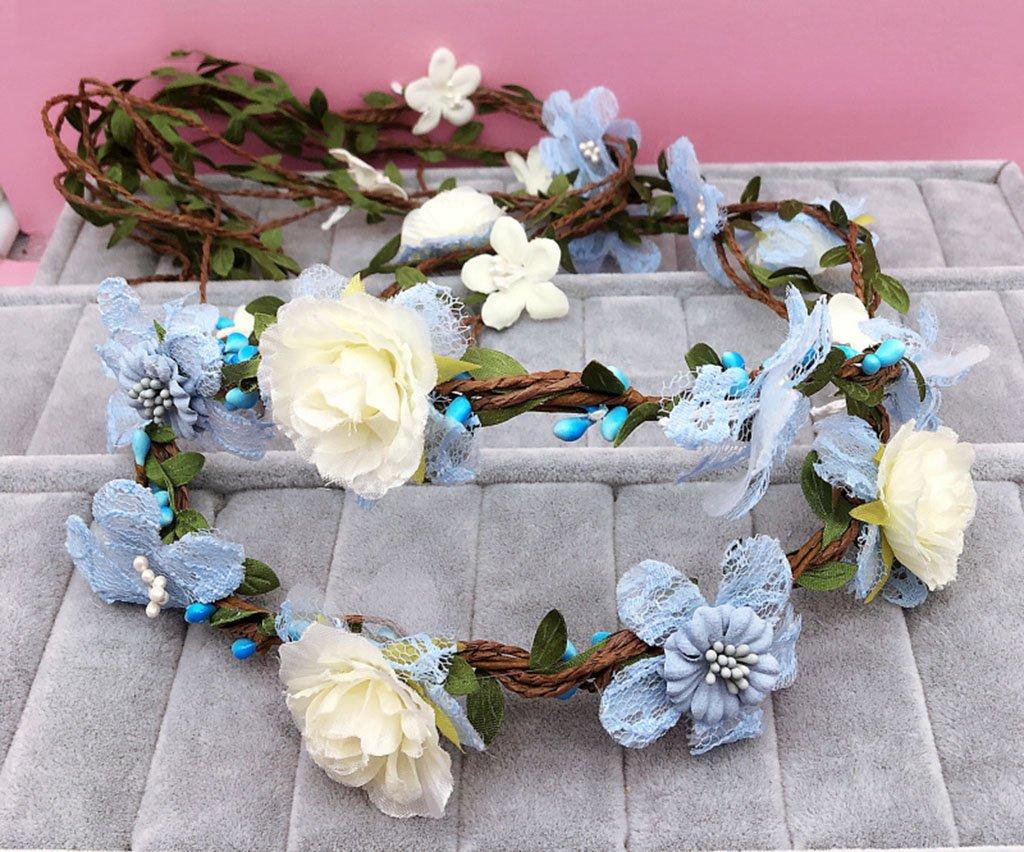 Wreath Flower, Headband Flower Garland Handmade Wedding Bride Party Ribbon Headband Wristband Hairband Bule (Color : A)