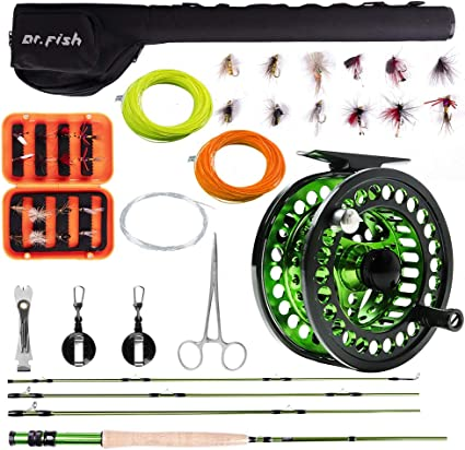 Amazon Com Dr Fish Fly Fishing Outfit Rod And Reel Combo 4 Pieces 9ft Im8 Carbon Fiber Fly Rod 5 6 Cnc Machined Aluminum Pre Spooled Fly Reel 16 Fishing Flies And Lightweight Portable Case