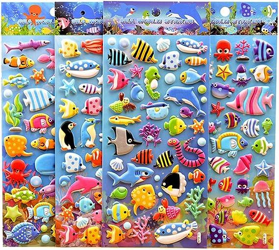 NUOBESTY 4 Fogli Adesivi Animali Bolla Mare Adesivi Carino Cartone Animato PVC Schiuma