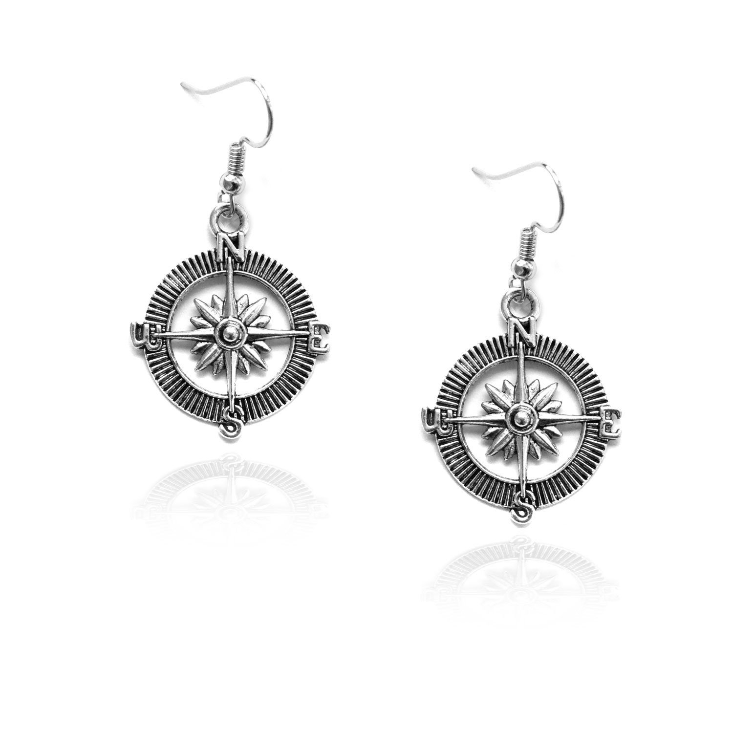 Antiqued Silver Nautical Compass Drop Earrings