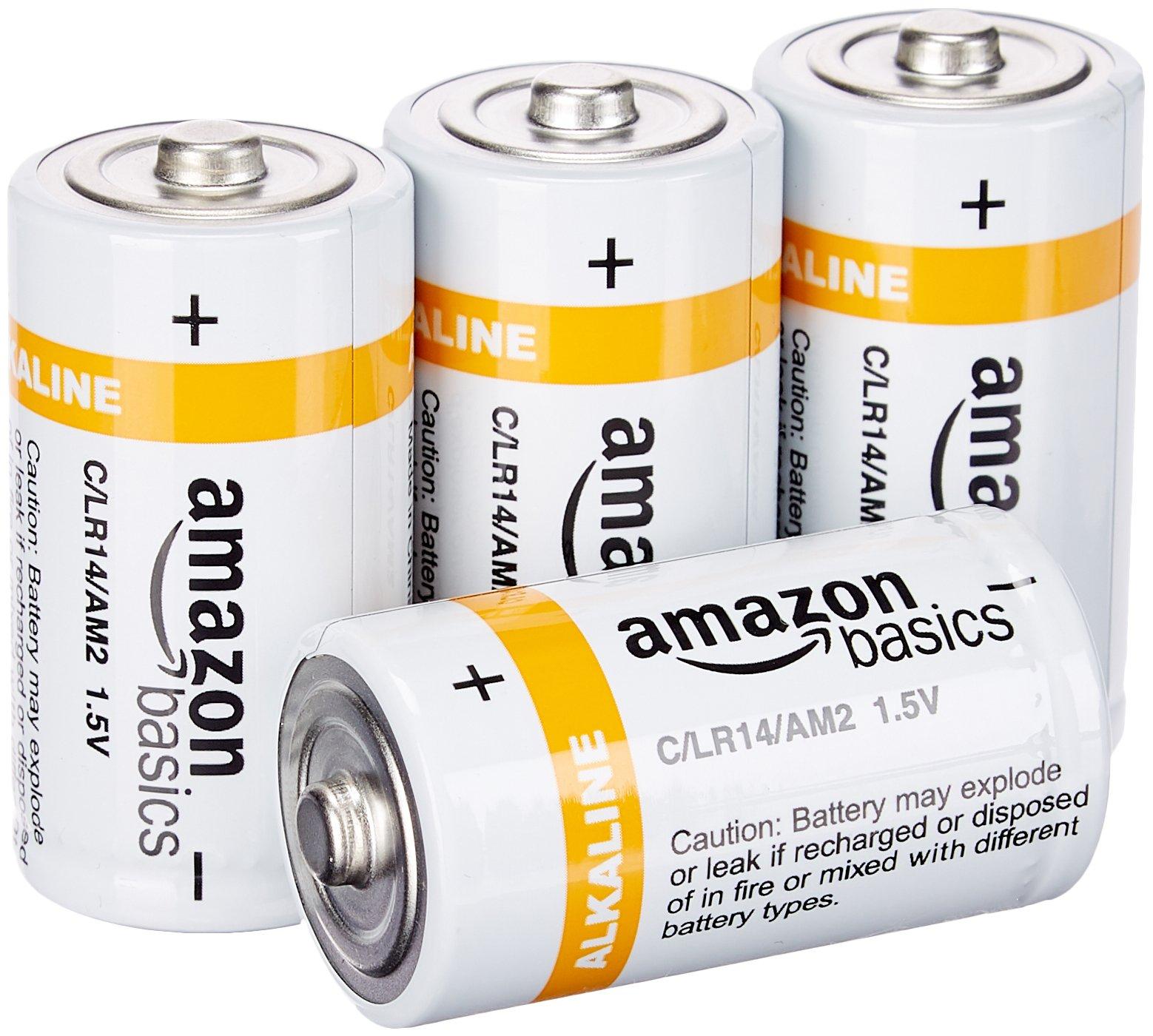 AmazonBasics C Cell Everyday Alkaline Batteries (4-Pack)