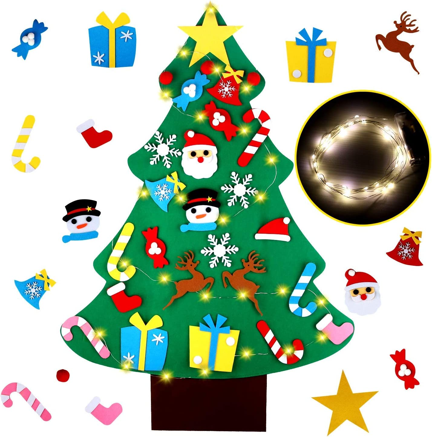 EKKONG Árbol de Navidad De Fieltro, Árbol Rbol De Fieltro de Bricolaje con Luces Led de Cadena+ los Ornamentos Desmontables 26pcs, Regalos Colgantes para Las Decoraciones de la Navidad