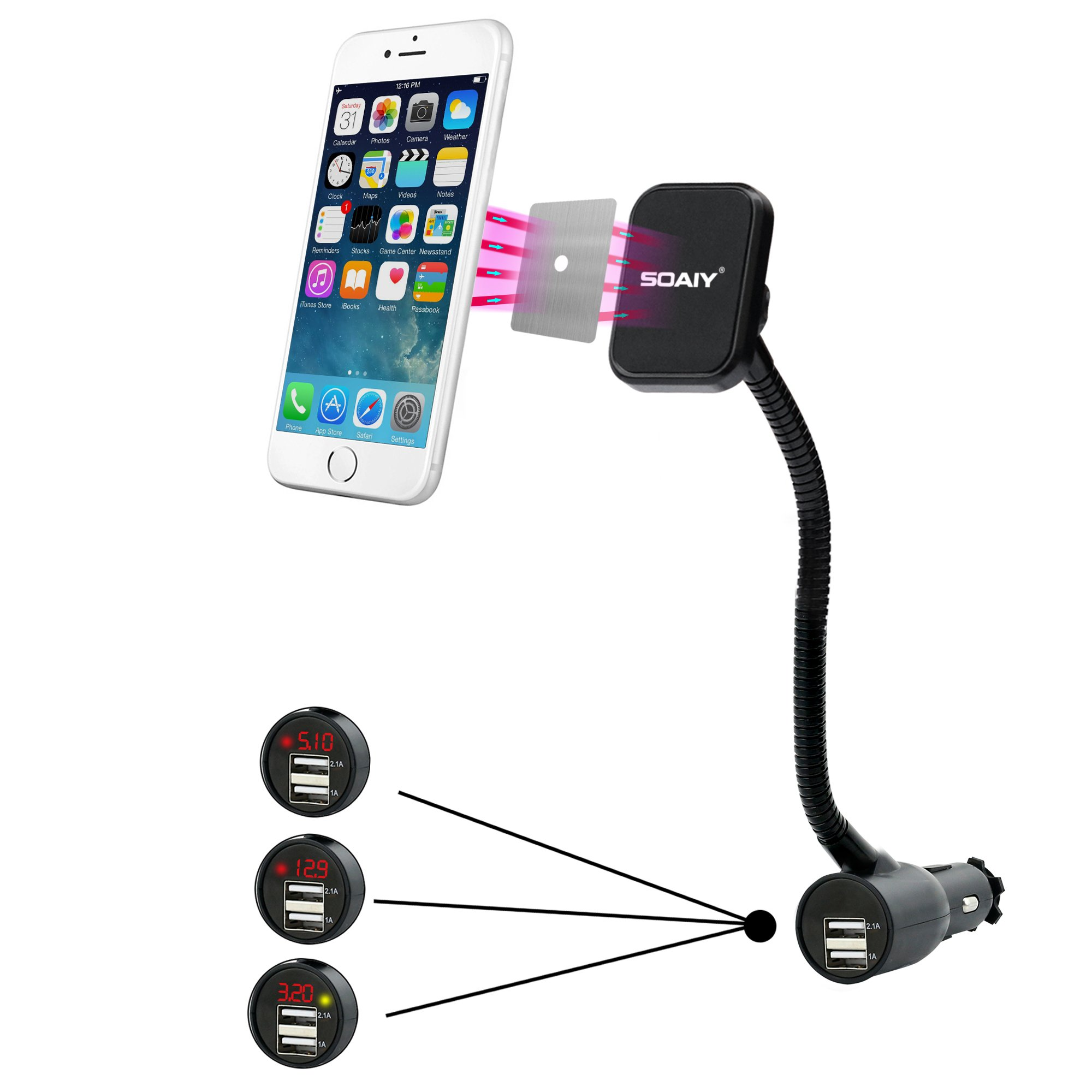 SOAIY 3-in-1 Cigarette Lighter Magnet Car Mount + Car Charger + Voltage Detector,Car Holder Cradle w/Dual USB 3.1A Charger,Display Voltage Current Compitable with iPhone8 X 6s 6 5s Samsung S8 S7 S6