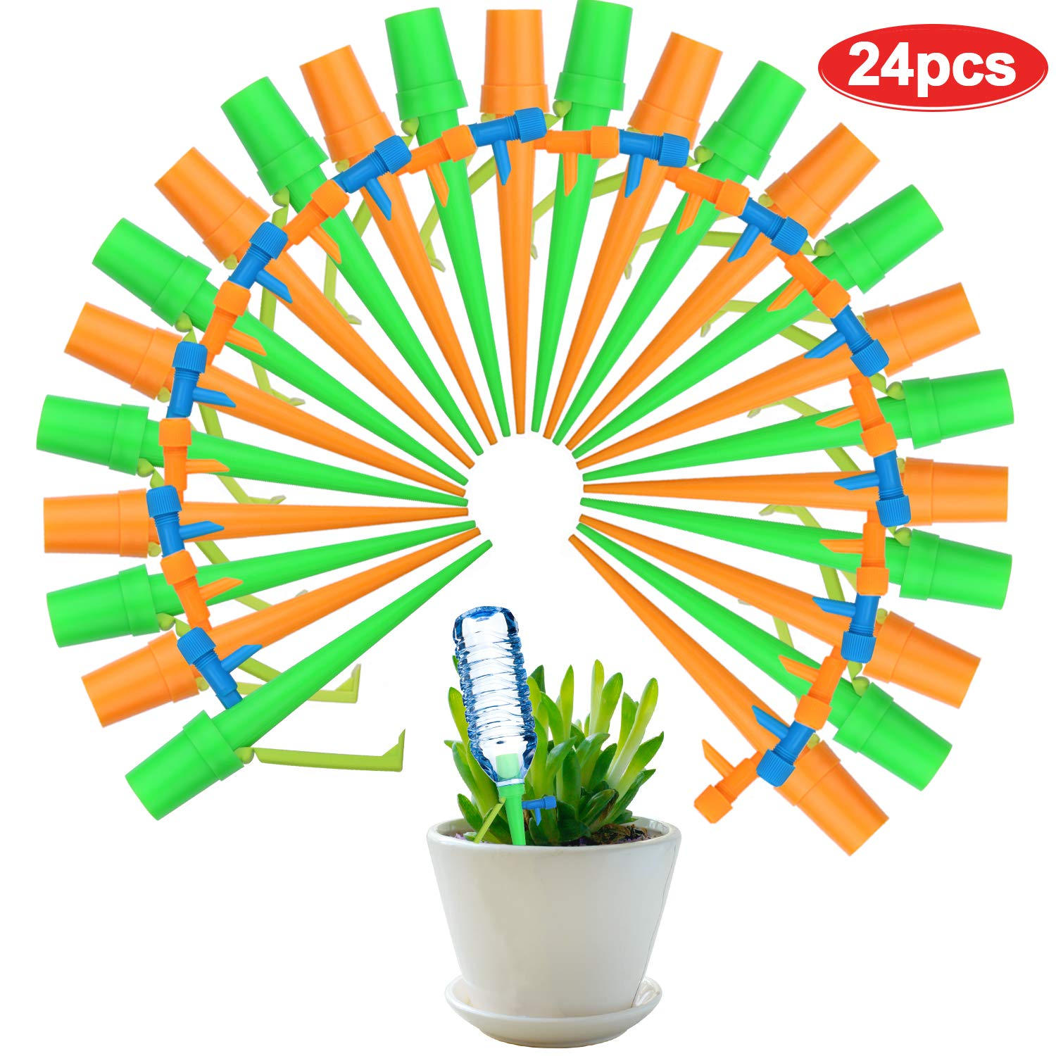 Flantor Plant Self Watering Spikes System, Vacation Automatic Plant Waterer Nannies Devices with Slow Release Control Valve Switch (24 PCS Watering Spikes) by Flantor