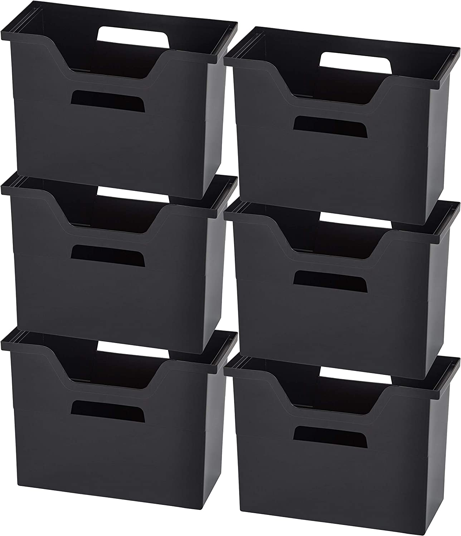 IRIS Desktop File Box, 6 Pack, Medium, Black