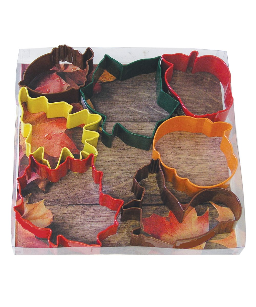 R&M International 1826 Autumn Leaf Cookie Cutters, Acorn, Ivy, Apple, Oak, Pumpkin, Maple, Squirrel, 7-Piece Set