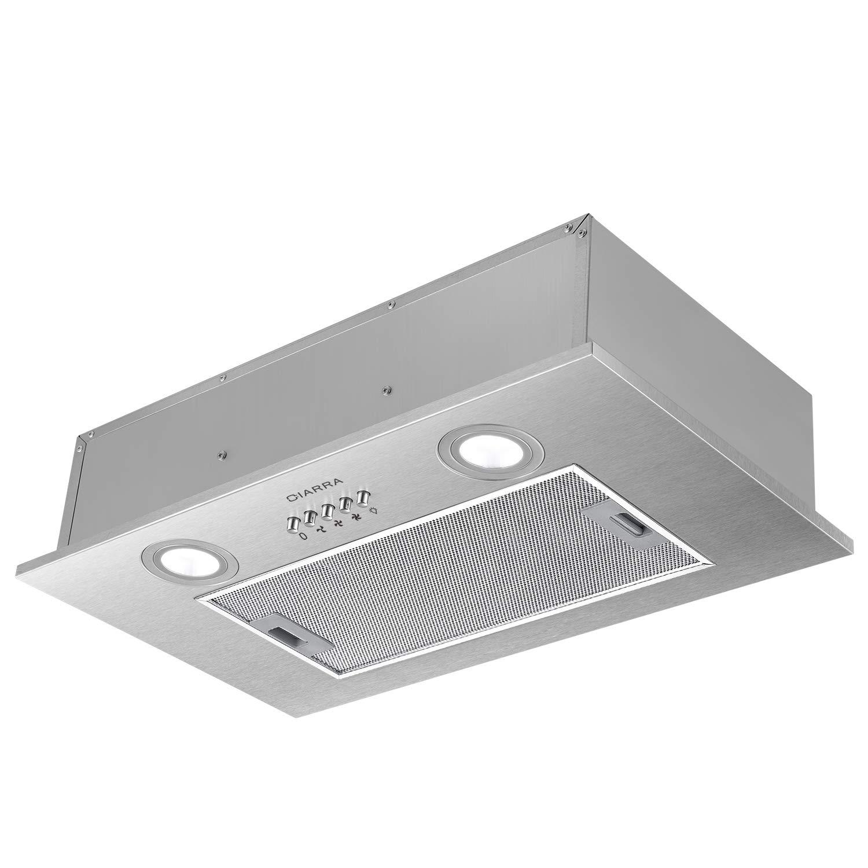 CIARRA Dunstabzugshaube 52cm/Integrierte Dunstabzugshaube/ 3 Leistungsstufen/Edelstahl-Unterbau-Haube (Abluft/Umluft) /Unterbauhauben(Silber)