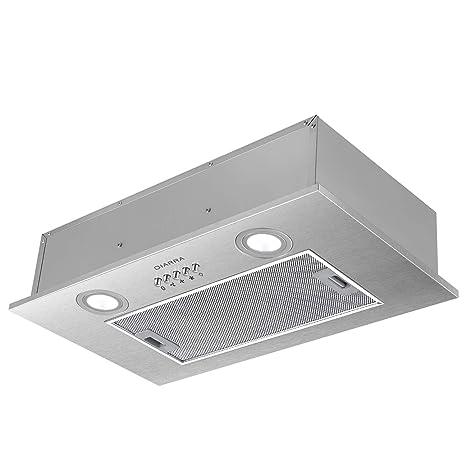CIARRA,cappa aspirante 52cm,300m3/h,3 velocità di ventilazione,Luce a  led,in acciaio inox,cappa integrata,argento