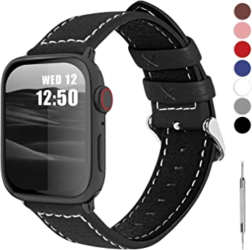 Fullmosa LC-Jan Cuero Correa, 7 Colores Correa Compatible Apple Watch/iWatch Series 5, Series 4, Series 3, Series 2, Series 1, 38mm, 42mm, Negro 42mm: Amazon.es: Electrónica