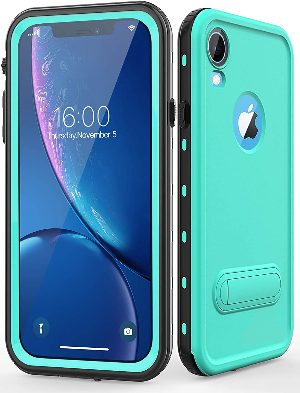 Diverbox for iPhone Xr Case Waterproof,Shockproof Dustproof IP68 Full-Body Sturdy with Kickstand Case Built-in Screen Protector,Underwater Full Sealed Cover Protective for iPhone Xr (Teal)