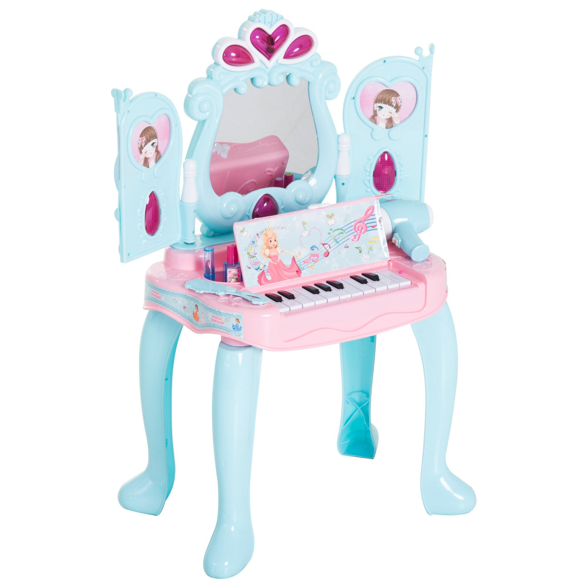 Qaba 2-in-1 Piano Vanity Table Princess Pretend Play Set with Lights, Sounds, and Accessories - Light Blue/Pink