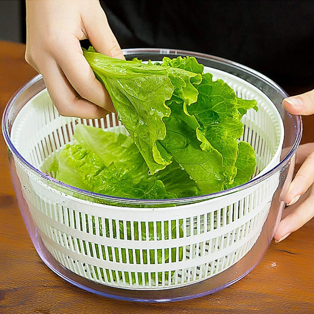 Aich Vegetable Dehydrator Salad Spinner Salad Dryer Home Wash Basin Creative Kitchen Manual Fruit Water Drain Basket by Aich