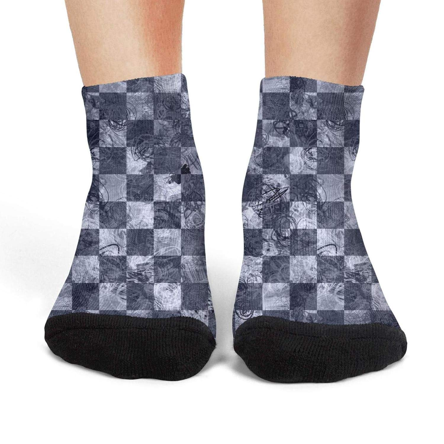 Mens low cut athletic Ankle sock Grunge grey seamless chess Breathable Short Sock