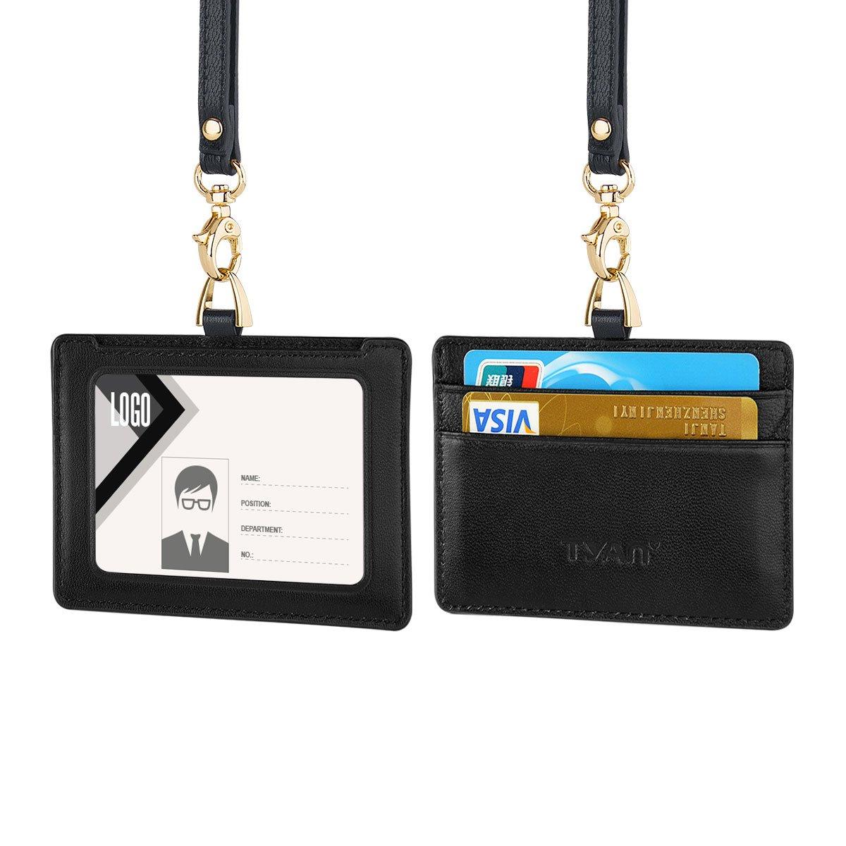Portebadge Cuir Véritable De Support Dinsigne Pour La Carte D - Porte badge cuir