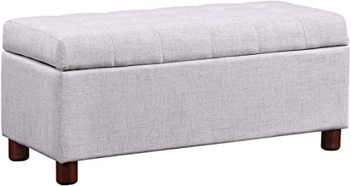 Knocbel Flip-Top Storage Ottoman Upholstered Seat Tufted Linen Fabric Bench Footrest Stool