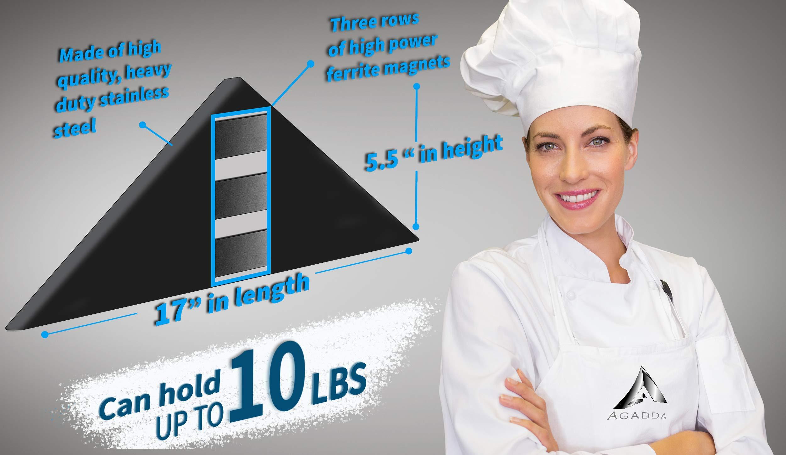 Agadda Premium Designer Stainless Steel Magnetic Knife Holder - Professional Magnetic Knife Strip/Knife Bar/Knife Rack - 17 inch (Black) by Agadda (Image #6)