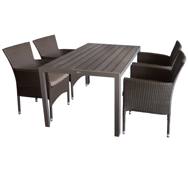 5tlg. Gartengarnitur Aluminium Gartentisch 150x90cm mit Polywood Tischplatte Champagnerfarben stapelbare Polyrattan Gartensessel braun-meliert inkl. Sitzkissen