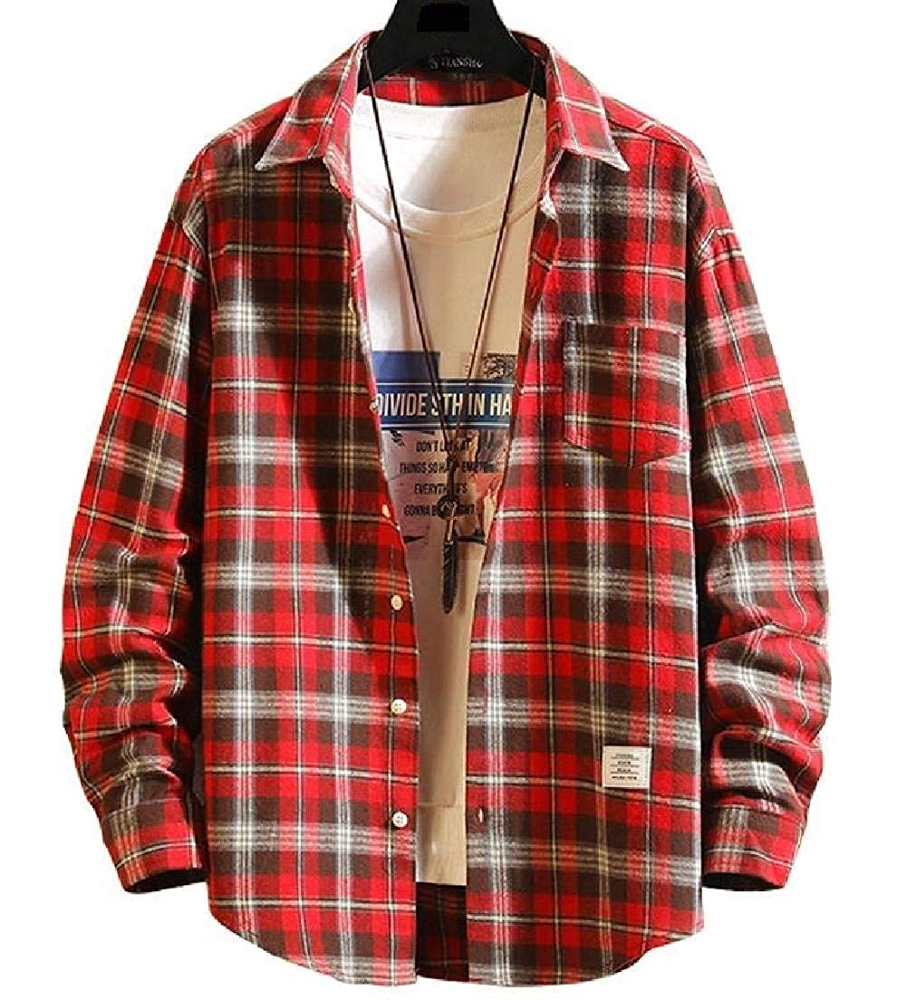 Zantt Mens Plaid Print Loose Casual Plus Size Long Sleeve Shirt with Pockets