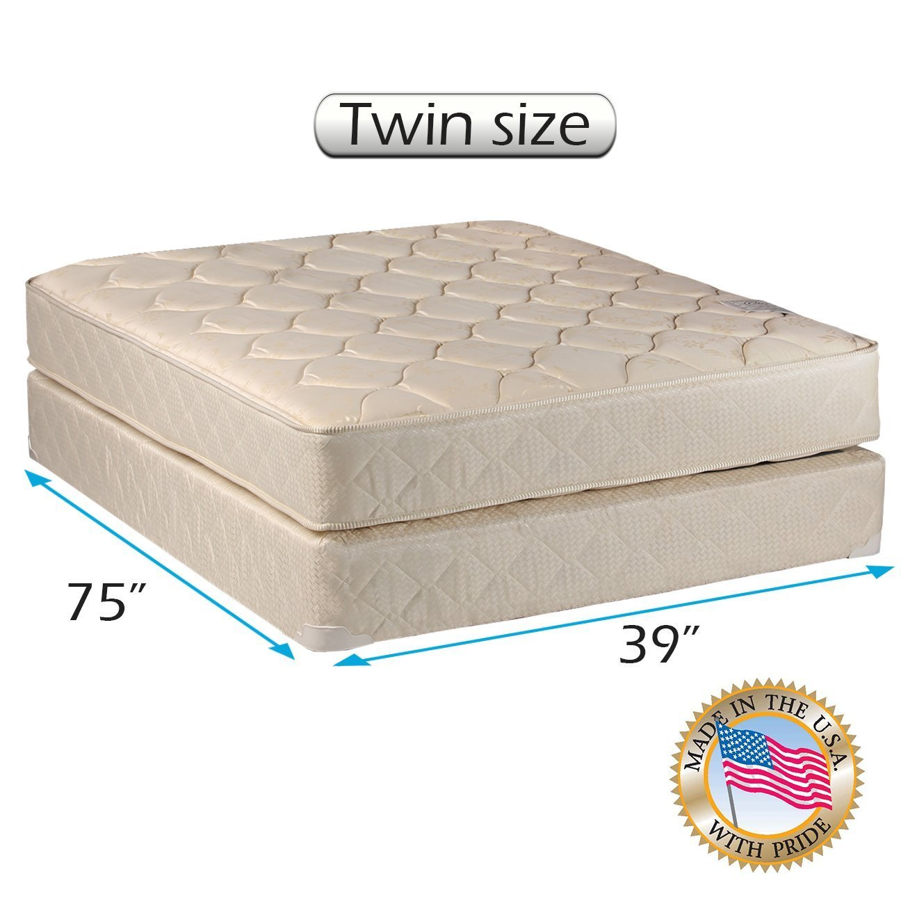 Comfort Classic Gentle Firm Twin Size (39''x75''x9'') Mattresses and Box Spring Set - Fully Assembled, Orthopedic, Good for Your Back, Longlasting and Super Quality by Dream Solutions USA by Comfort Bedding
