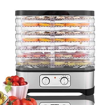 Buyi-World Secador de alimentos para secas con pantalla y temporizador, Máquina de alimentos de 250 vatios con temperatura ajustable de 5 estantes 50-70 ...