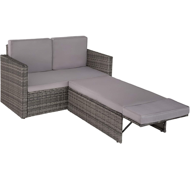 Pouf con Cuscino TecTake 800693 Divano Lounge in Rattan Disponibile in Diversi Colori Grigio | No. 403125 Doppia Sdraio Elevato Comfort di Seduta