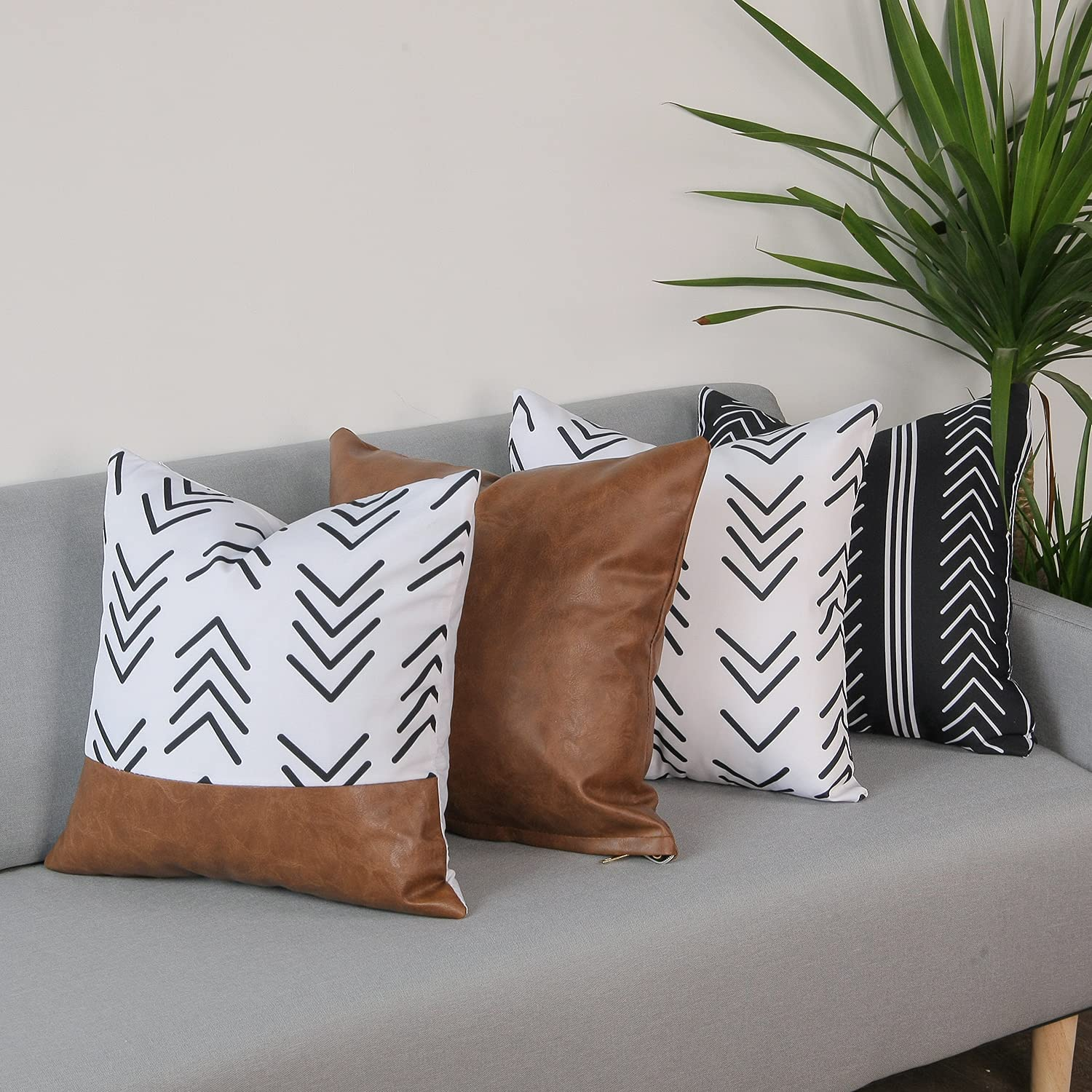 cygnus Decorative Throw Pillow Covers 18x18 inch Set of 4, Boho Modern Farmhouse Neutral Decorative Pillowcases Faux Leather Accent Cushion Case for Couch, Bed, Home Decor