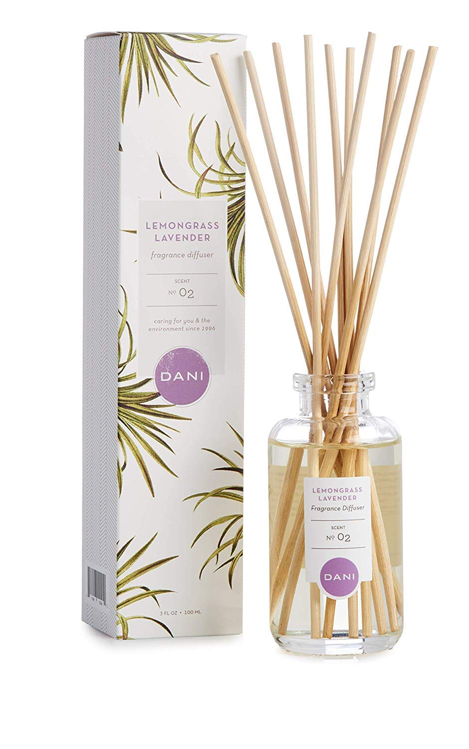 Natural Reed Diffuser Set by DANI Naturals - Calming Lemongrass Lavender Scented - Aromatherapy Essentials Oils - Alcohol Free - 10 Diffuser Sticks - 3.5 Ounce Glass Bottle by DANI