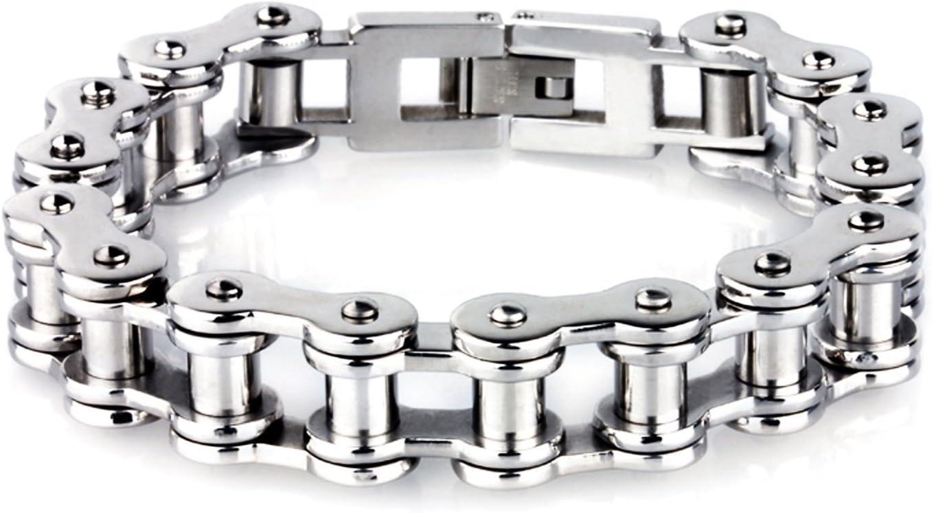 LDUDU® Pulsera para hombre de Cadena Bici de acero inoxidable antialérgico Brazalete de hombre Bike Chain color Plateado - regalo para San valentin Cumpleaños