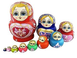 Set di 10multicolore cuore Chubby da impilare russo bambola giocattolo fatto a mano in legno per bambini nursery Room Decor Winterworm
