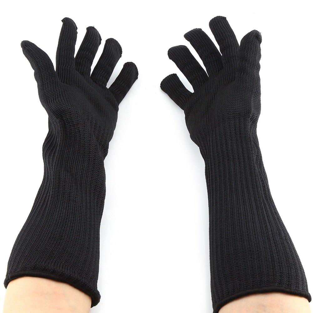 Edelstahl Wire Mesh Handschuhe Mit Langen Manschetten Hand Handgelenk Unterarm Protector Cut Resistant Ä rmel Sicherheit Arbeitshandschuhe Yosoo