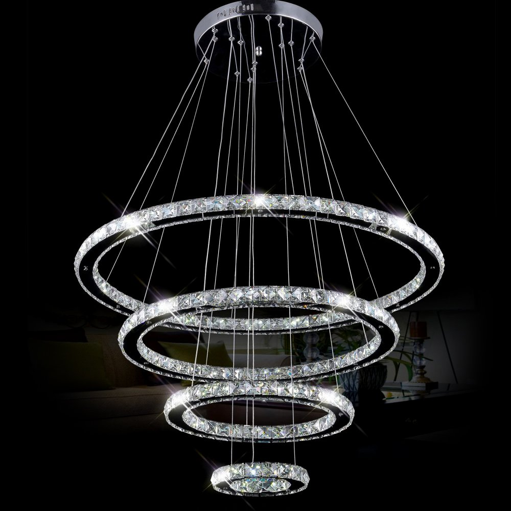 Dearlan Modern Crystal 4 Ring Chandeliers D31.5''+23.6''+15.7''+7.8'' Ceiling Lighting Fixture Chandelier Lighting for Living Room Hotel Hallway Foyer Entry Bed Room by Dearlan (Image #2)