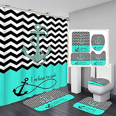 4 Piece Anchor Shower Curtain Sets-Non-Slip Rugs Bath Mat Hot Toilet Lid Cover