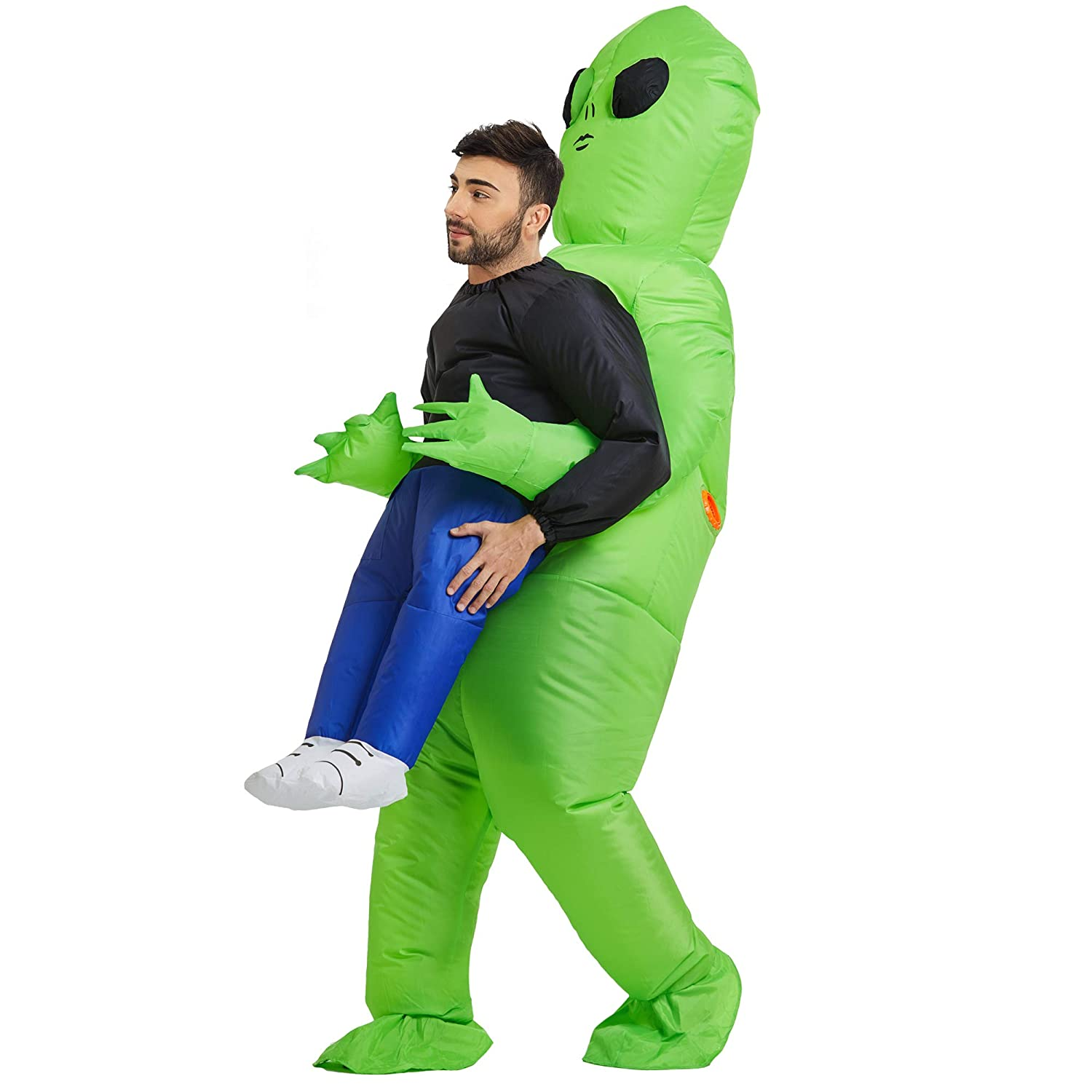 Halloween Kids Adults Inflatable Green Alien Costume Carnival Cosplay Party Suit