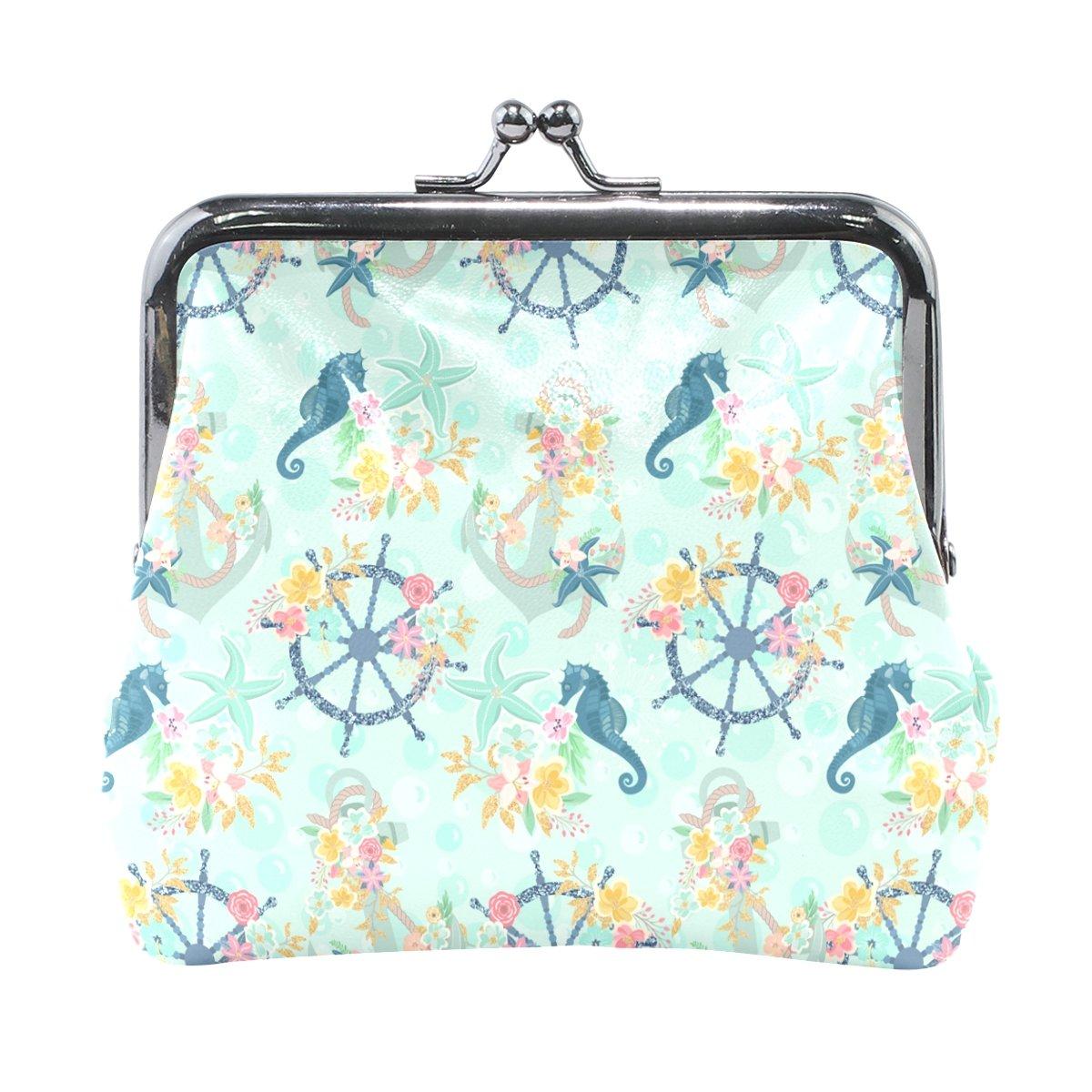 Sunlome Nautical Anchor Starfish Sea Horse Floral Coin Purse Change Cash Bag Small Purse Wallets for Women Girl