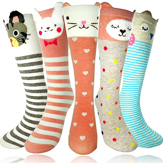 a28402cc834 Image Unavailable. Image not available for. Color  Girls Socks - Little Girls  Long Socks Cartoon Animal Knee High Cotton Stockings